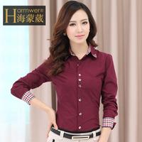 Free Shipping 2014 Spring High Quality Long Sleeve Women Blouse Turn Down Collar Cotton Plus Size Work Shirt Wear M1403