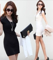 2014  women's summer one-piece dress slim lace chiffon patchwork V-neck plus size