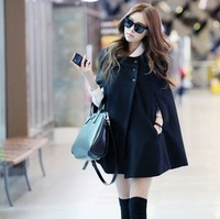New Fashion street clothing woolen cloak overcoat female woolen outerwear free shipping