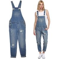 2014 Spring New Vintage Classic Distressed Hole Denim Overall Jumpsuit, Women Long Loose Jeans Trousers Bib Pants Plus Size XXL