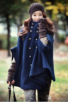 2014 new fashion Autumn and winter cloak overcoat outerwear wool woolen overcoat female batwing sleeve outerwear free shipping