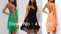 Hot sale Fine metal buckle sling back cross hollow sleeveless solid colored Chiffon Dress irregular women sexy dress