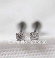 Free shiping 1/pc Four claws 2014 New  Body piercing jewelry earrings ear stud AAA zircon Labret lip piercing jewelry