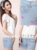 free shipping 2014 Spring new light blue color cotton women sexy jeans hot shorts