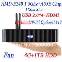 mini itx virtual pc thin client pc terminal with AMD E240 1.5Ghz AMD HD6310 graphics support DX 11 HDMI VGA 4G RAM 1TB HDD