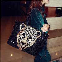 Sequins Leopard  PU leather high quality bag famous brands bags designer bolsos mujer hand  tote ladies clutch handbag de marca