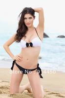 2014 Fashion Sexy Bikini pUSH uP Swimwear Sexy Beach wear Padded Bathing suit Women bikini Size in S M L Black&White Young Dot