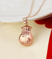 Lucky lucky bag rose gold color gold necklace female short design chain gift accessories
