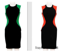 The 2014 Green and red knee-length dress sleeveless Hot selling Evening dress Style summer dress Free shipping