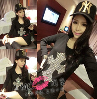 2013 ladies sexy cross rhinestones pattern slim basic long-sleeve slim hip one-piece dress