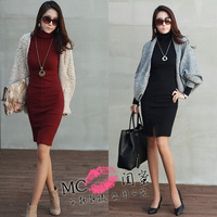 2117 turtleneck long-sleeve basic Wine midguts skirt red one-piece dress sexy slim hip placketing plus size skirt