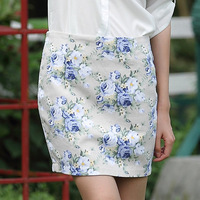 Women's canvas bust floral bud skirt for summer rose flowers print slim hip formal sexy mini short skirts/S-XL/free shipping