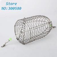 2PCS Stainless steel Bait thrower fishing lure cage large bait cage Nest fly cage fight Metal feed compouna cage 12.5cm*7cm 43g