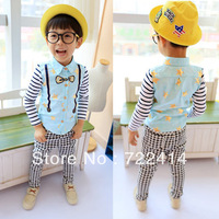 Free shipping 2014 new Spring Autumn blue white Children Boy blouses Kids baby long sleeve Embroidery t shirt boys cotton tops