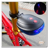 New 5 piece Blue Bicycle Bike Cycling Led Laser tail Light Safety Rear Warning Lamp 7 flash models bicycle light
