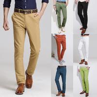 Male trousers Casual pants Small straight Fashion Trend Slim Drop-shipping White.Black.Green Gray Blue Khaki Purple Orange