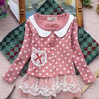 Free shipping  New 2014 spring  Girls dot lace fashion casual jacket  CQCXG008