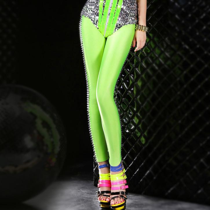 ribattino cool neon delle donne legging sottile ultra sottile pantaloni elastici caramella di colore pantaloni alla caviglia