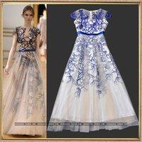 Fashion sexy perspective gauze ruslana korshunova patchwork embroidery expansion bottom full dress elegant one-piece dress