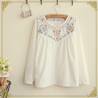 Retail New 2014 Spring Autumn Women's Japanese Forest Style Exquisite Embroidery Cotton Shirt,Female Blouses,Free Shipping!