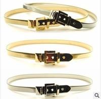 High Quality Fashion Skinny Slim Thin Elastic Belt Metal Buckle Belts Ladies Silver Gold Chain Belt Waistband Belts For Women