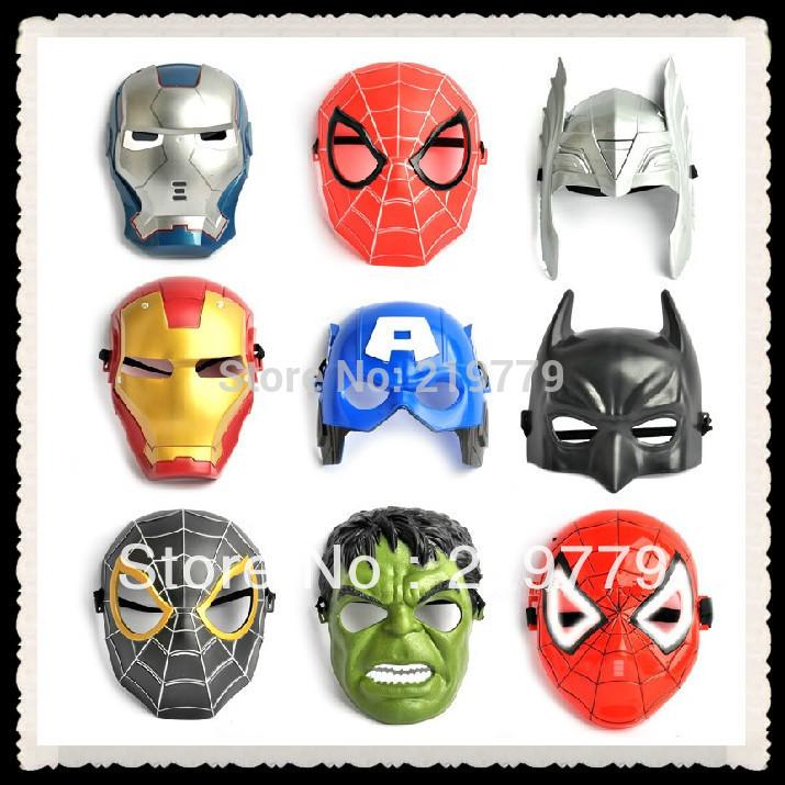 2pcs/lot PVC Super Heroes Mask Spiderman Batman Iron man Ottman Hulk Captain America Thor Party masks Kids Adults Christmas(China (Mainland))