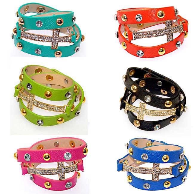 cristal e metal rebite pu de couro wrap, envolto pulseiras pulseiras cravejados, envoltório duplo pulseira, pulseira com pingente de cruz, 6 cores(China (Mainland))