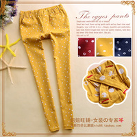 M 2014 casual women's polka dot pattern multi-pocket elastic mid waist slim all-match straight long trousers