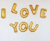 12 inch Gold and Silver Letter Foil Balloons for I LOVE YOU 8 letters Valentine's Day Gift for Girlfriend