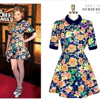 Free shipping new 2014 summer dress women fashion POLO short sleeve dress plus size flower print dress pleated girl dresses