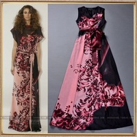 2014 spring and summer women's runway fashion vintage print lacing vest silk maxi dress