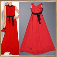 2014 Fashion spring and summer noble elegant expansion bottom tantalising red long design silk maxi dress