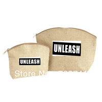 "Free Shipping, Jute Cosmetic Bag,Size:8""HX12""WX4""D with zipper, Custom logo and size acceptable"