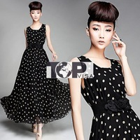 2013 spring and summer long skirt black vest dress with delicate white dots double flower belt chiffon dress