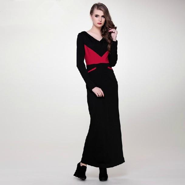 Fashion 2017 autumn winter - Long Black Knit Dress Images