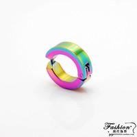 No ear hole clip earrings single glossy titanium clip earring multicolour fashion earring