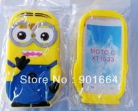 Despicable Me 3D Minion Silicone Phone Case Cover For Motorola Moto G + Screen Protector Free Shipping