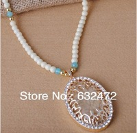 2014 new European style fashion necklace retro exaggerated gem sweater chain pearl statement necklaces & pendants jewelry