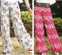 2014 New Womens Bohemia Elegant Loose Wide Leg National Tribal Ethnic Flower Floral Print Linen Pants Slacks Bloomers Joggers