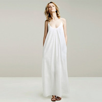 2014 fashion white woman Spring and summer 100% cotton long spaghetti strap floor full dress for women