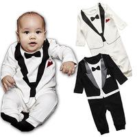 1-3Years Korean children's clothing factory two -color type terry gentleman Romper Baby Romper gentleman knot collar exports Rom