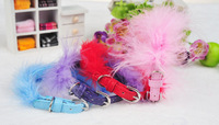 Special pu dog puppy cat pets collar with fur edge 5colors size S