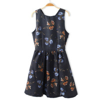 2014 Spring/winter Z style vintage flower printing sexey short skirt,fashion ladies' dress