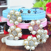 Bling buckle pu dog puppy cats collar with pearl flowers for chihuahua poddle 5colours 1cm width
