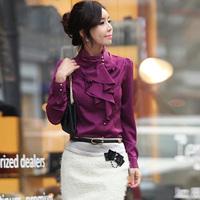 New arrival 2014 hot selling elegant gentlewomen stand collar long-sleeve ruffle puff sleeve faux silk shirt 30/nrj/C13/ 1055