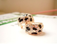 2014 New Design 100pcs/lot FashionLeopard diamond earrings Jewelry stud earrings European and American Jewelry wholesale