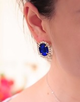 2014 New Design 100pcs/lot Fashion Oval Crystal Gemstone Earrings Women Jewelry stud earrings Korean jewelry wholesale