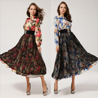 ON SALE Christmas Gift 2014 autumn winter new stlye vintage floral design maxi long chiffon celebrity cute dresses for women