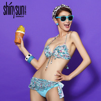 2014 fresh small split sexy bikini small triangle swimwear rose