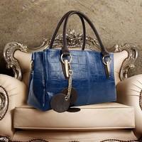 2014 fashion women Genuine leather handbags women Crocodile Grain Messenger bag leather totes bag for women bags designer brand